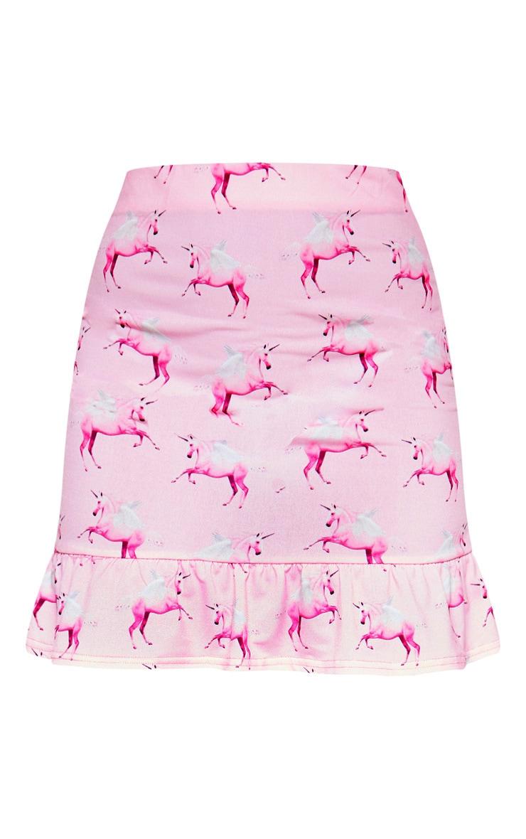PRETTYLITTLETHING Unicorn Pink Frill Hem Mini Skirt 3
