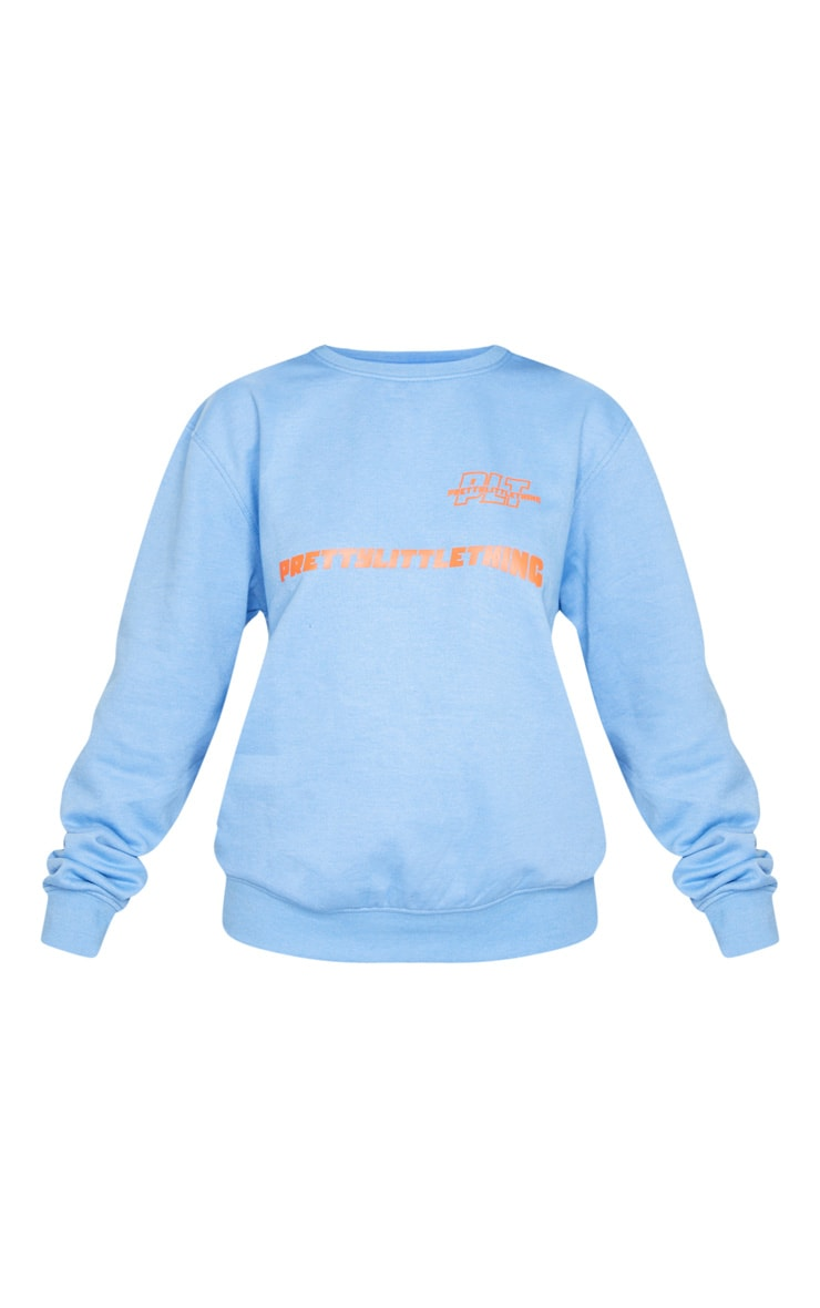 PRETTYLITTLETHING Blue Slogan Oversized Sweater 5
