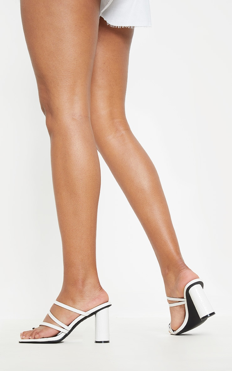White Round Block Heel Mule Strappy Sandal 2