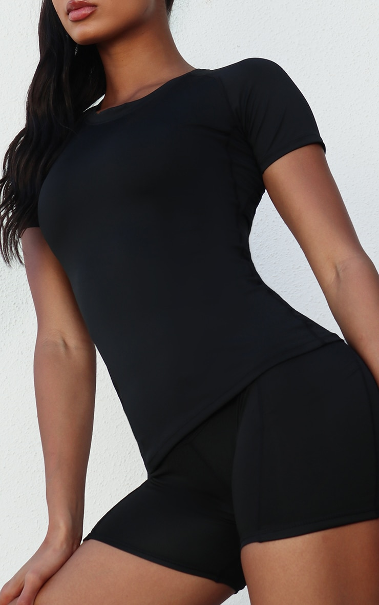 Black Basic Fitted Gym Top 4