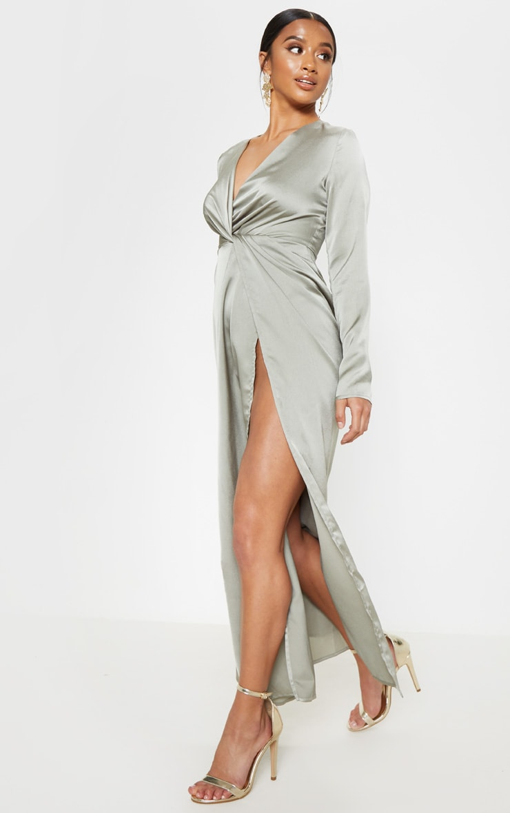 Petite Sage Green Twist Front Maxi Dress 3