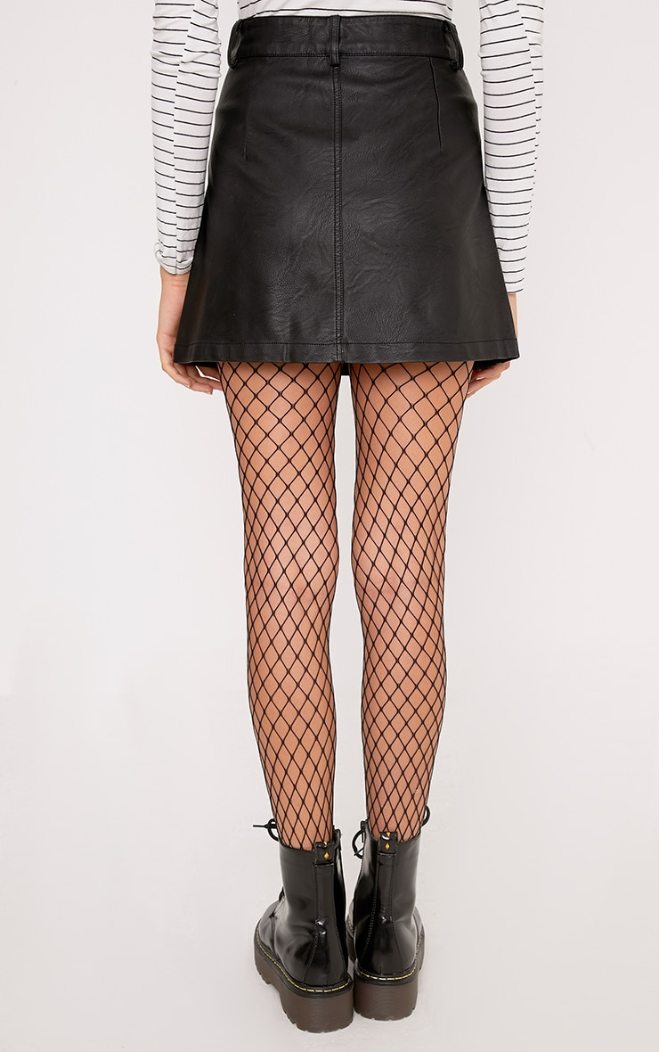 Ayanna Black Faux Leather Button A-Line Mini Skirt 4
