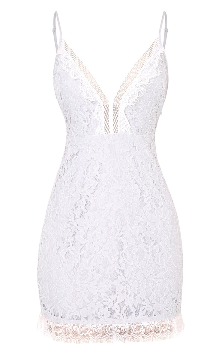 Giggi Ice Grey Strappy Lace Shift Dress 3