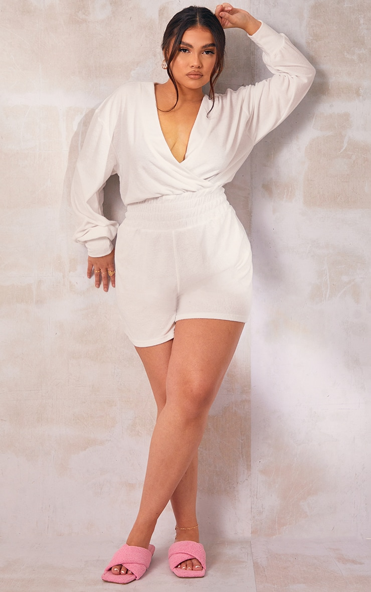 Plus White Toweling Ruched Waist Playsuit