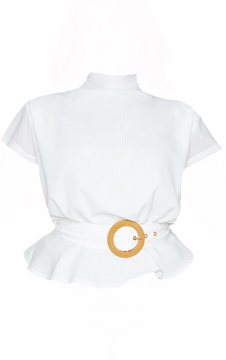 Plus White Satin Sleeveless Shoulder Pad Belted Top 5