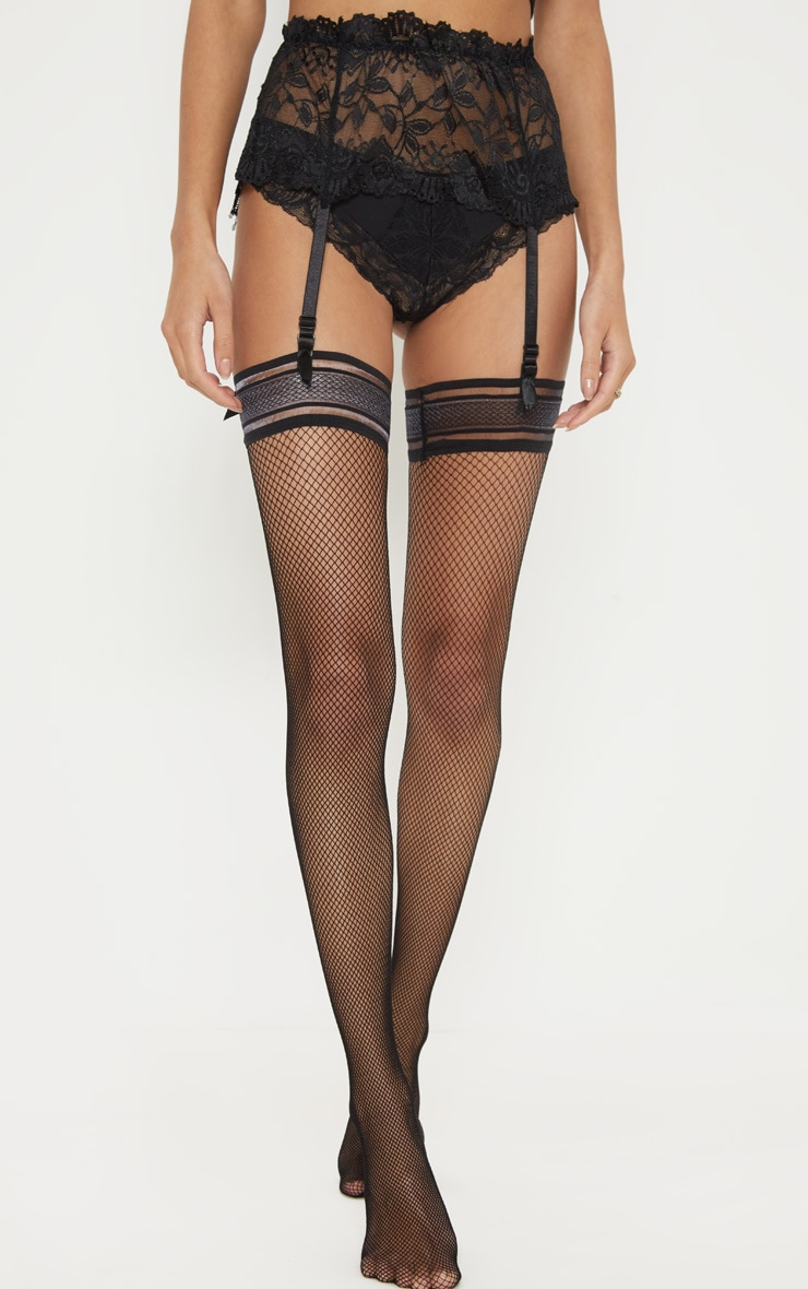 Black Wide Lace Suspender 1