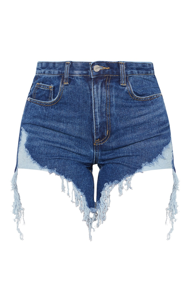 Dark Wash Distressed Denim Shorts 3