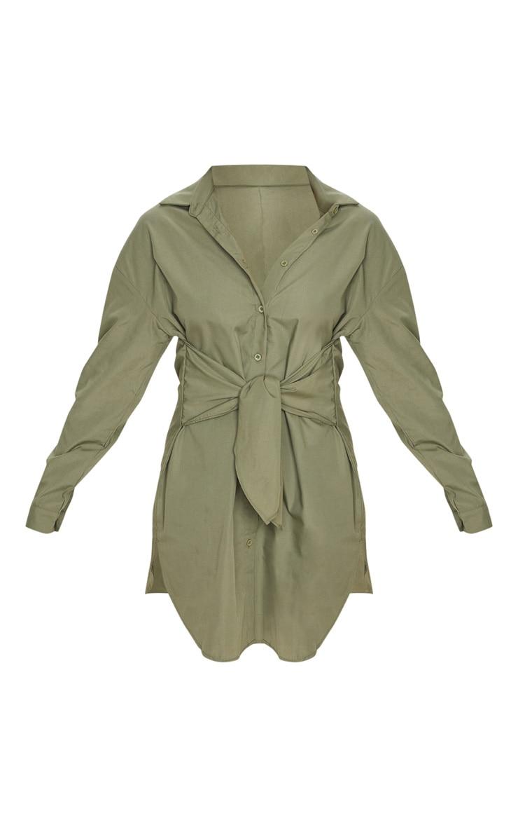 Khaki Tie Front Long Sleeve Shirt Dress 3