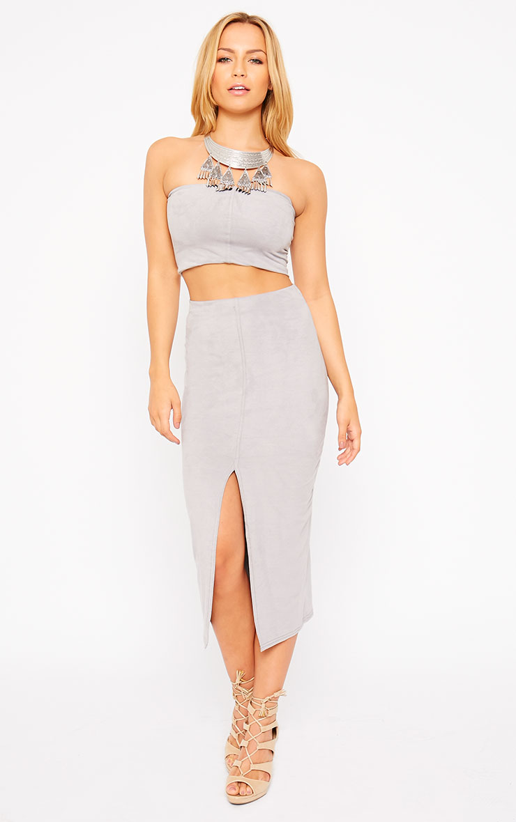 Riley Grey Suede Bandeau Crop Top 3
