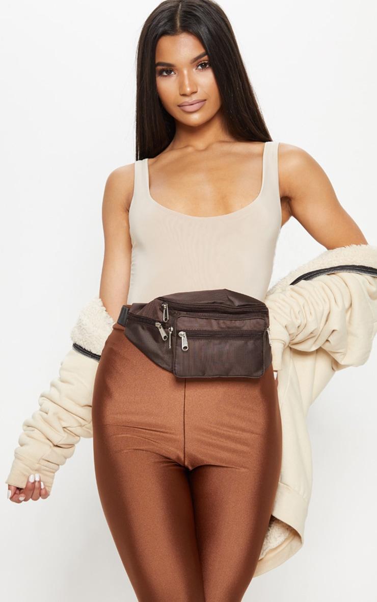 Brown Front Pocket Bum Bag 1