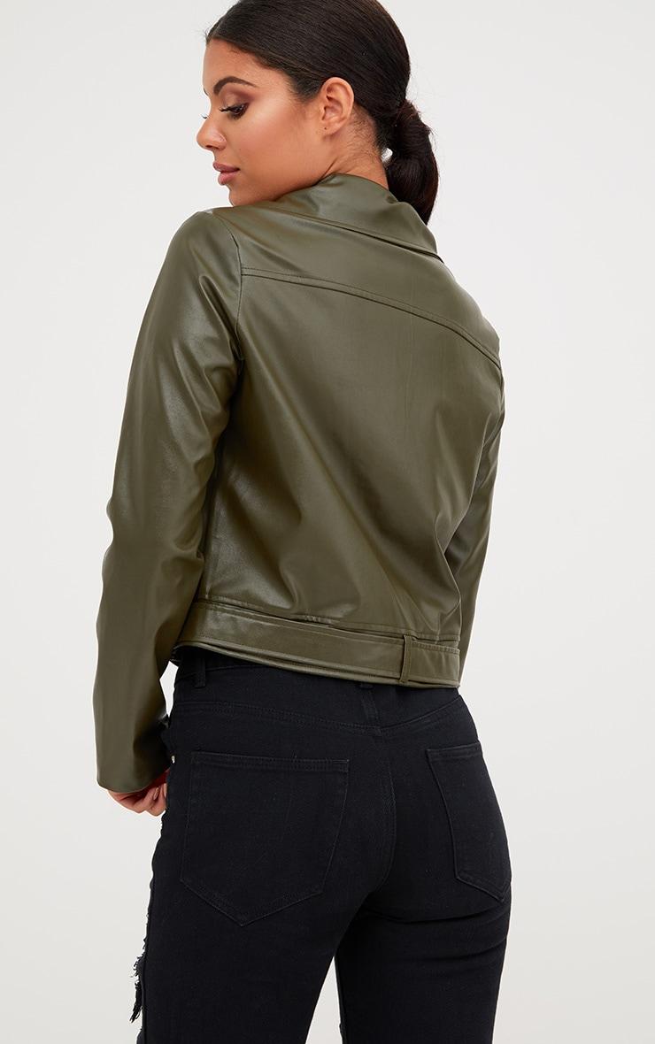 Khaki PU Biker Jacket 2