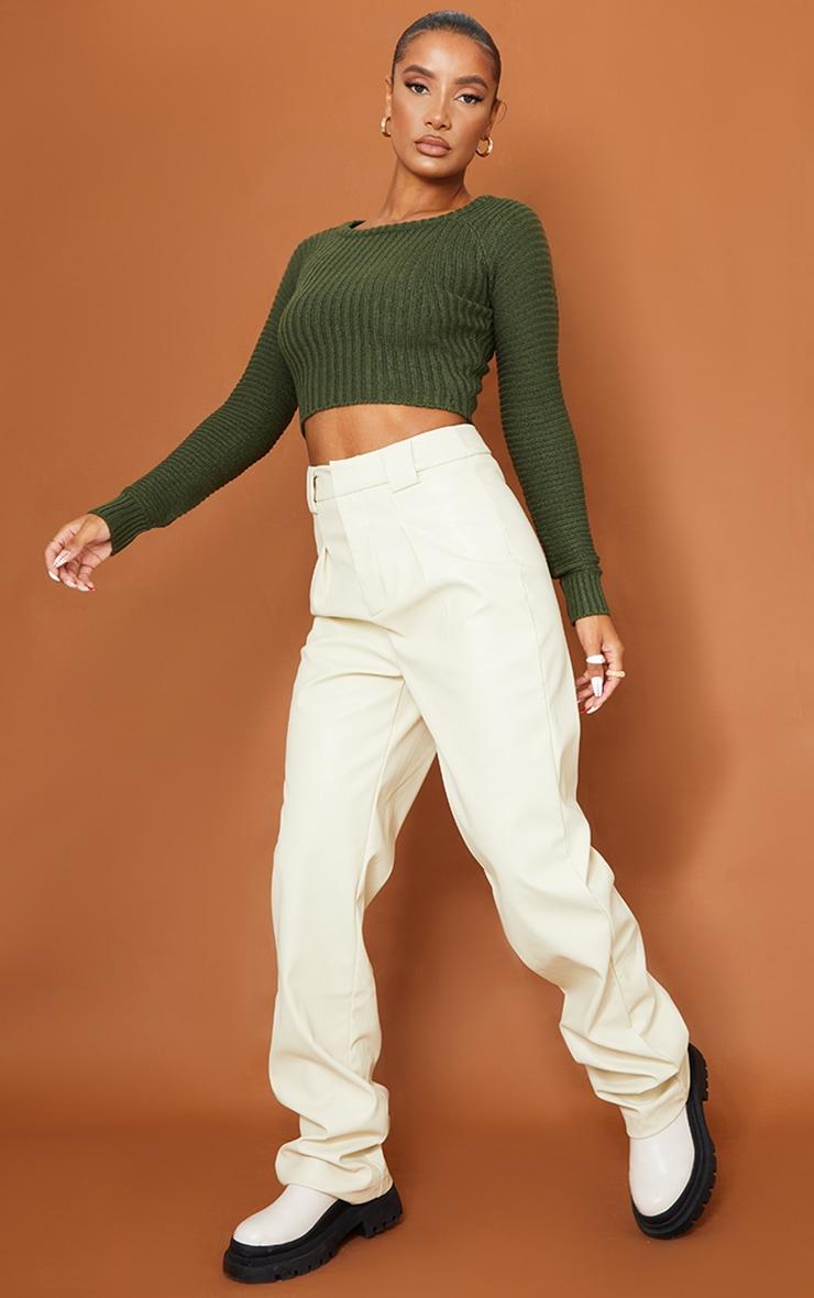 Khaki Cropped Rib Knit Sweater 3
