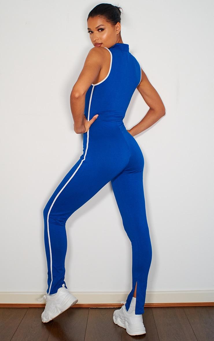 Blue Zip Detail Sports Stripe Sleeveless Jumpsuit 2
