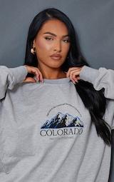 Ash Grey Colorado Print Oversized Sweatshirt 4