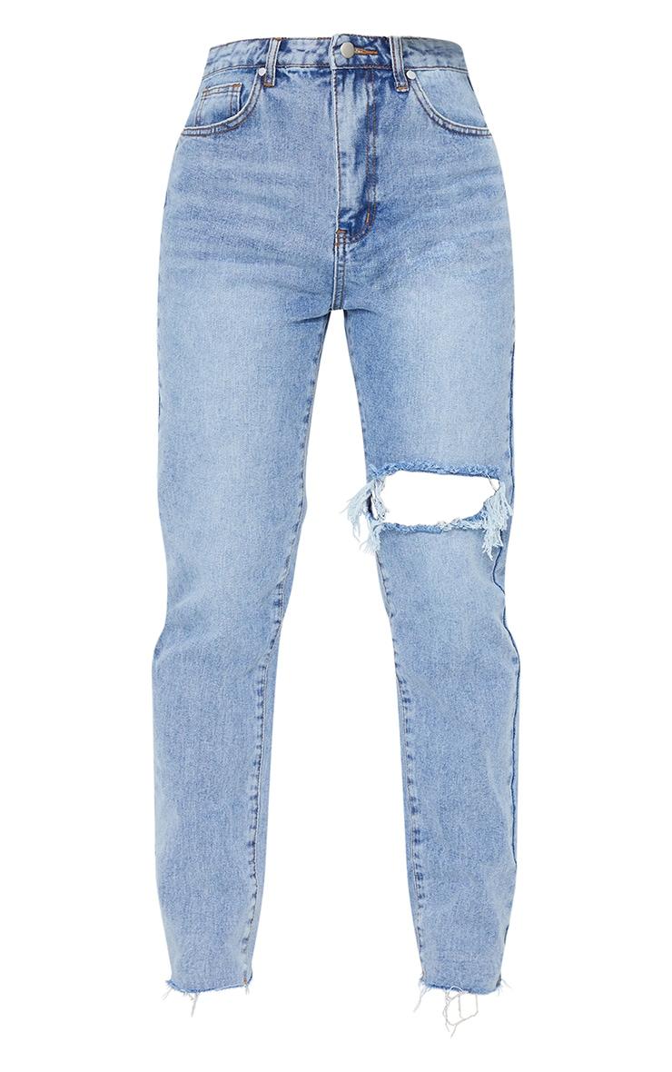 Vintage Wash Blue Raw Hem Knee Rip Mom Jeans 5