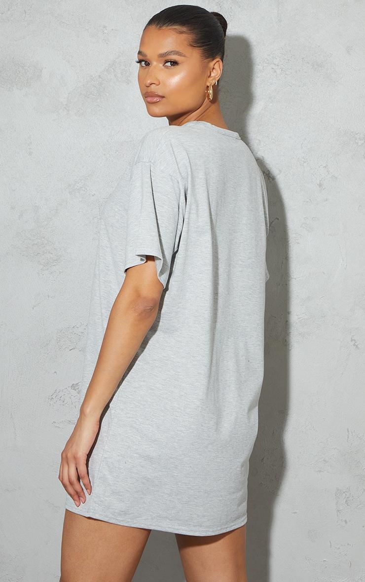 Grey Cut Out Detail Oversized T Shirt Dress 2