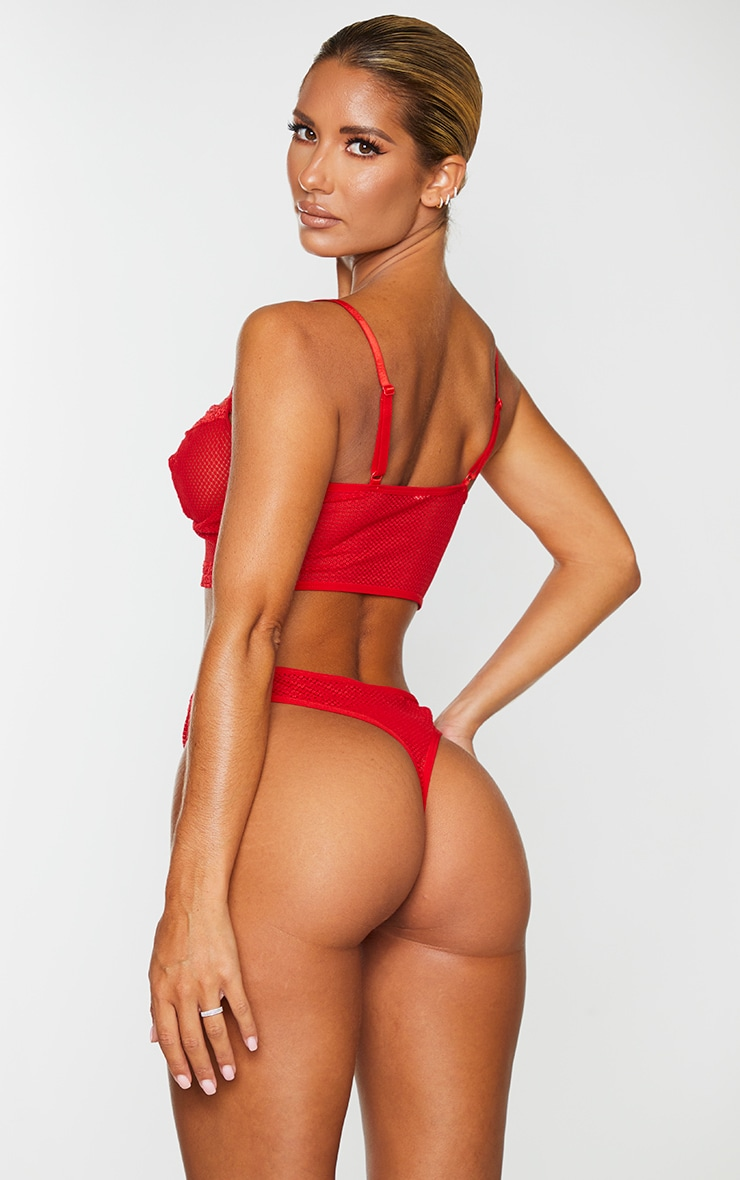 Red Mesh Lace Trim Hook And Eye Underwired Bra 2