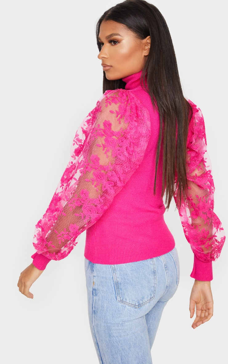 Pink Embroidered Mesh Sleeve Knitted Sweater 3