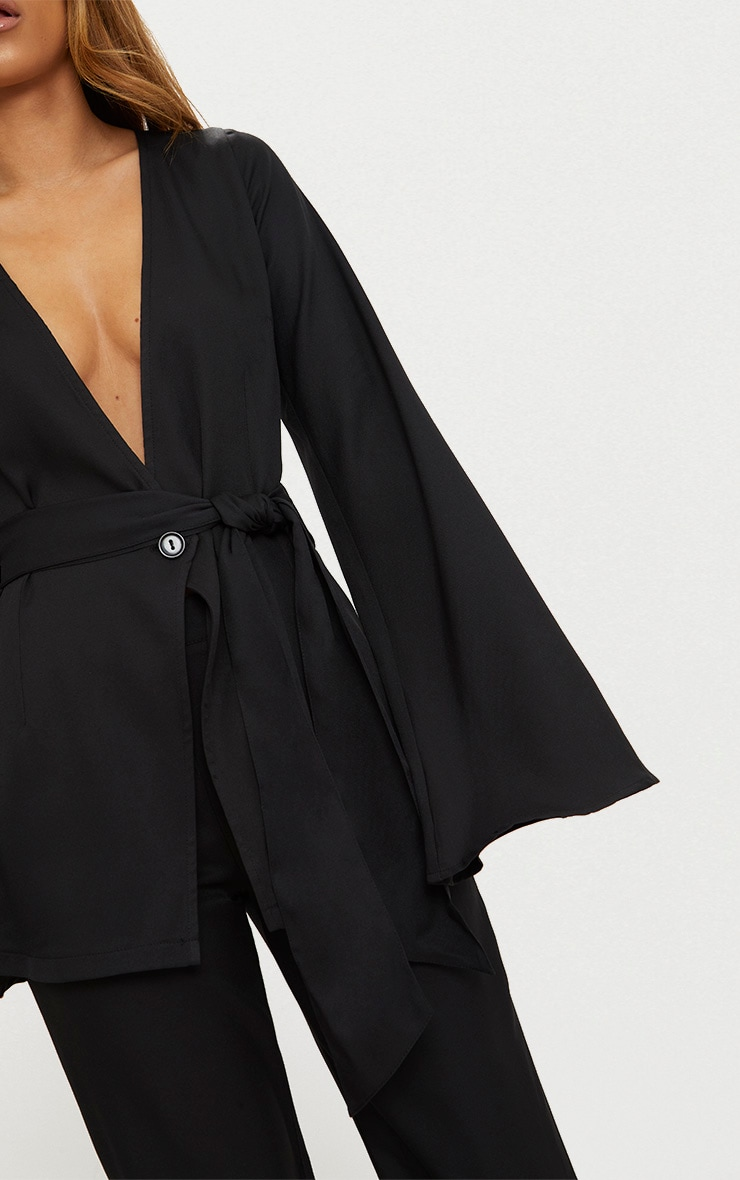 Petite Black Woven Belt Detail Blazer 5