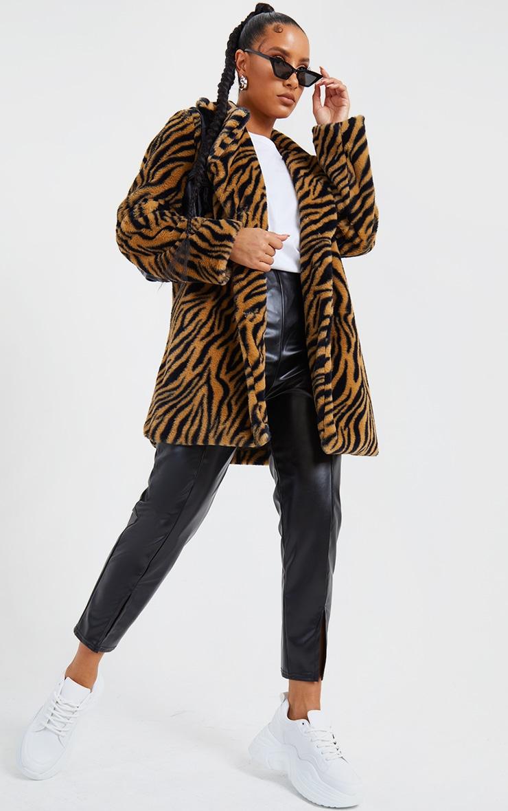 Brown Faux Fur Tiger Print Coat 1
