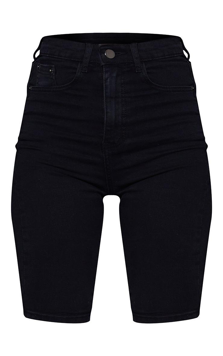 PRETTYLITTLETHING Washed Black 5 Pocket Denim Bike Shorts 6