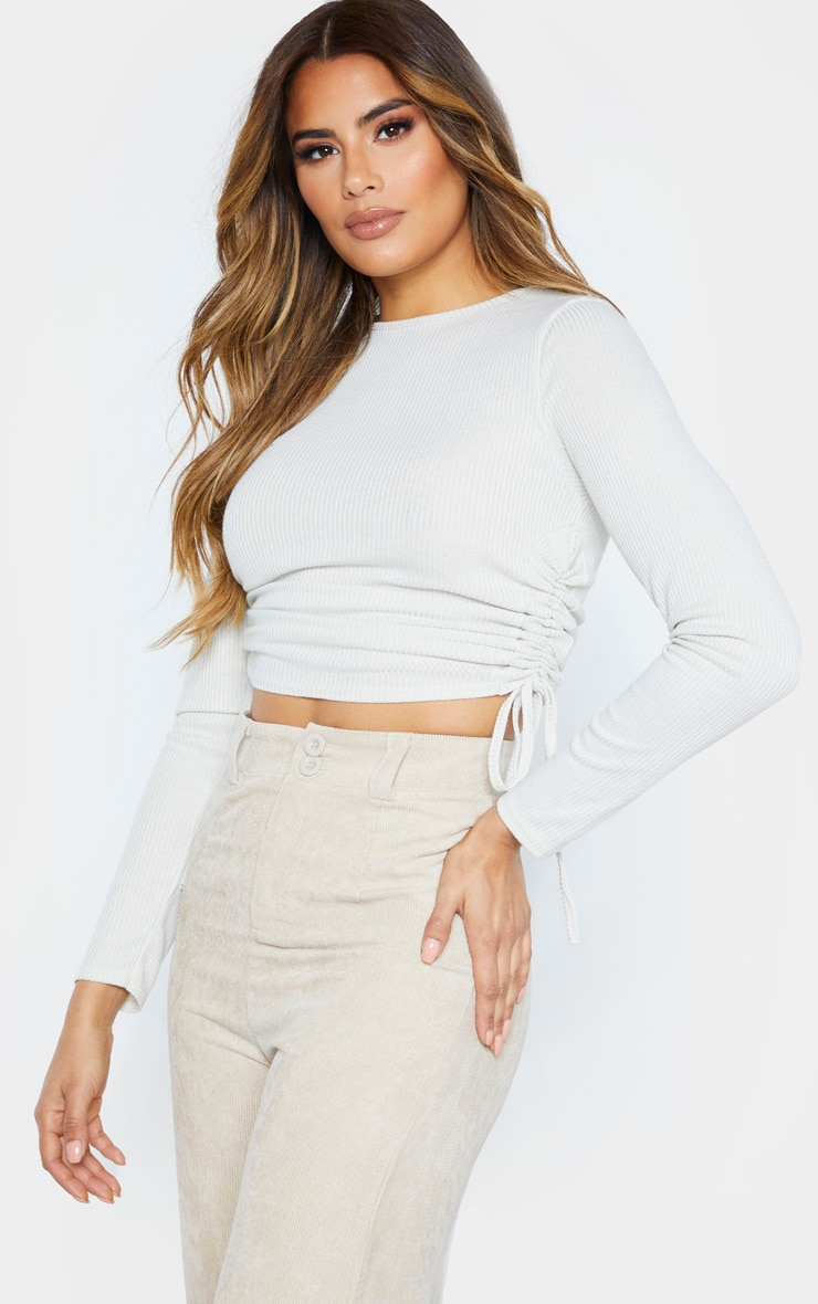 Tall Stone Ribbed Long Sleeve Ribbed Top 1