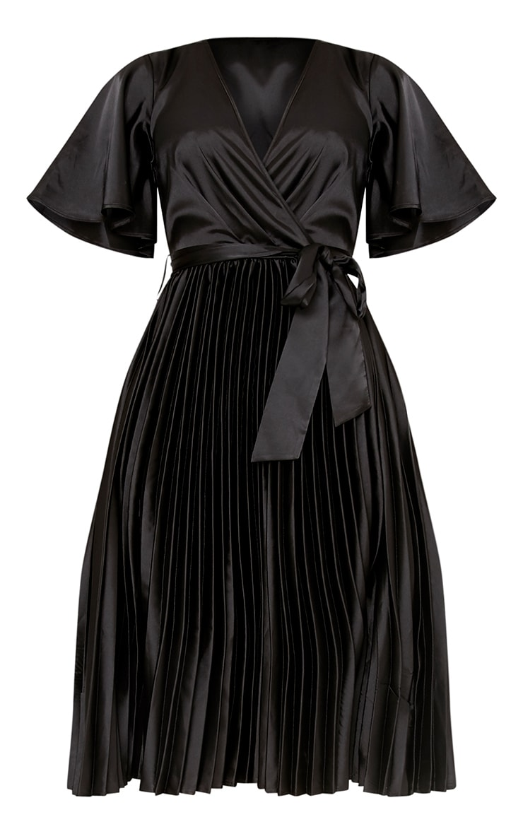 Mairee Black Satin Pleated Midi Dress 3