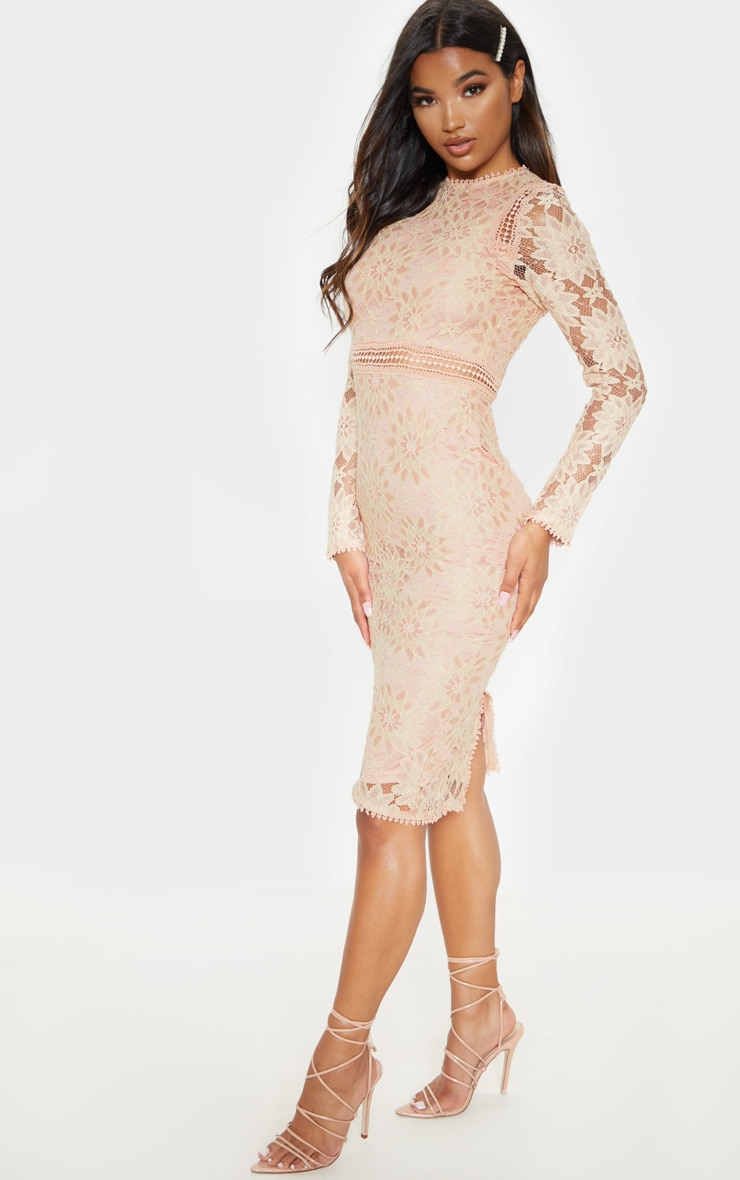 Caris Dusty Pink Long Sleeve Lace Bodycon Dress 4
