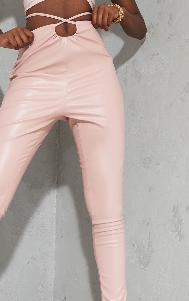 Tall Nude Ruched Waist PU Pants 4