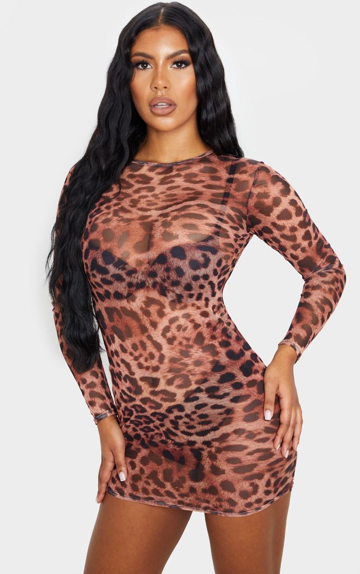 Brown Leopard Print Mesh Long Sleeve Bodycon Dress 4