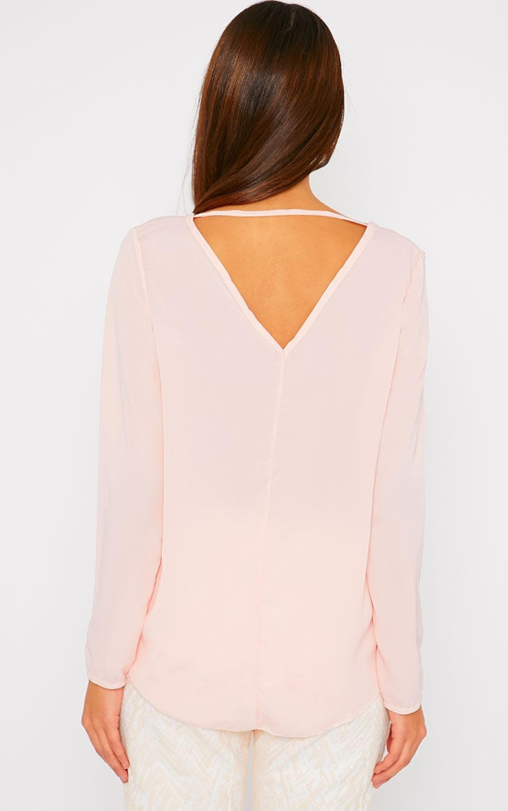 Julie Pink Wrap Front V Back Top 4