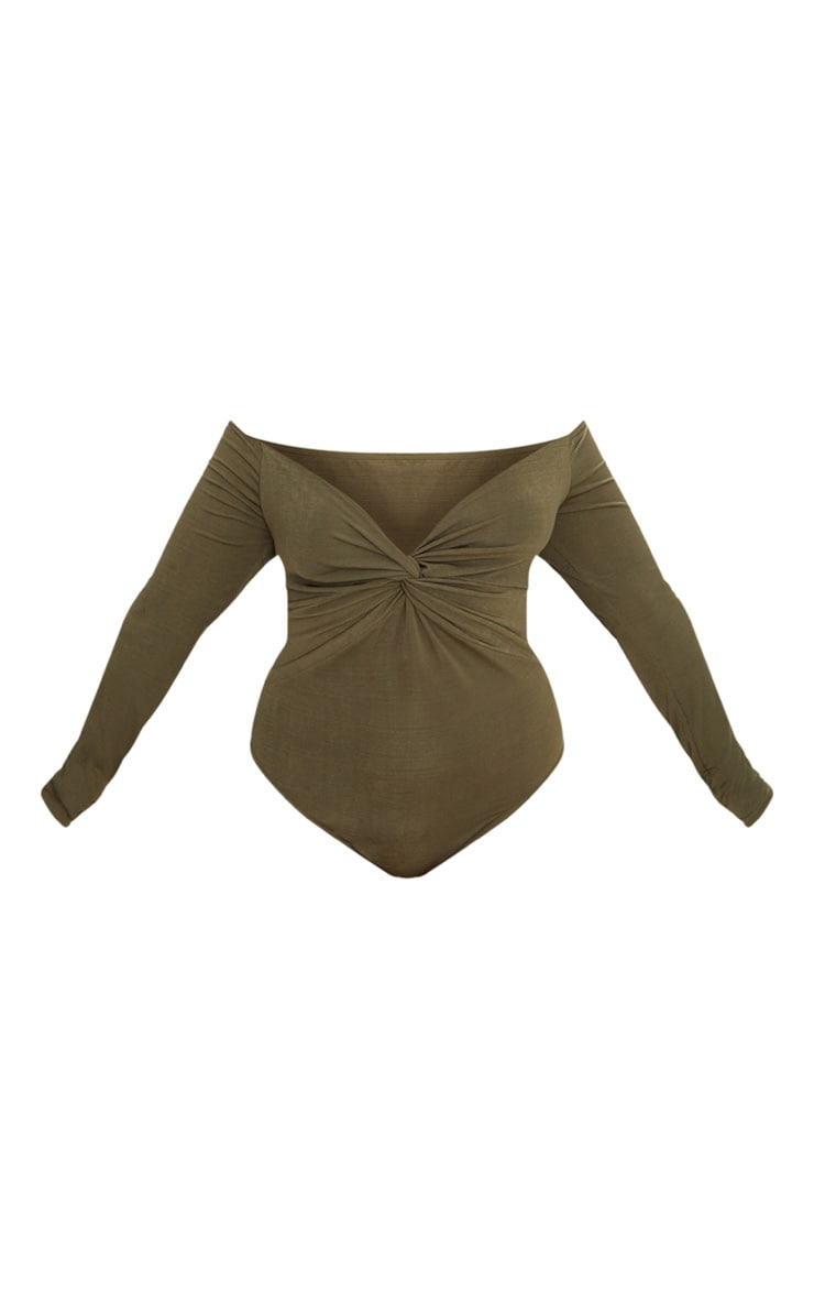Plus Khaki Slinky Twist Front Bardot Bodysuit 3