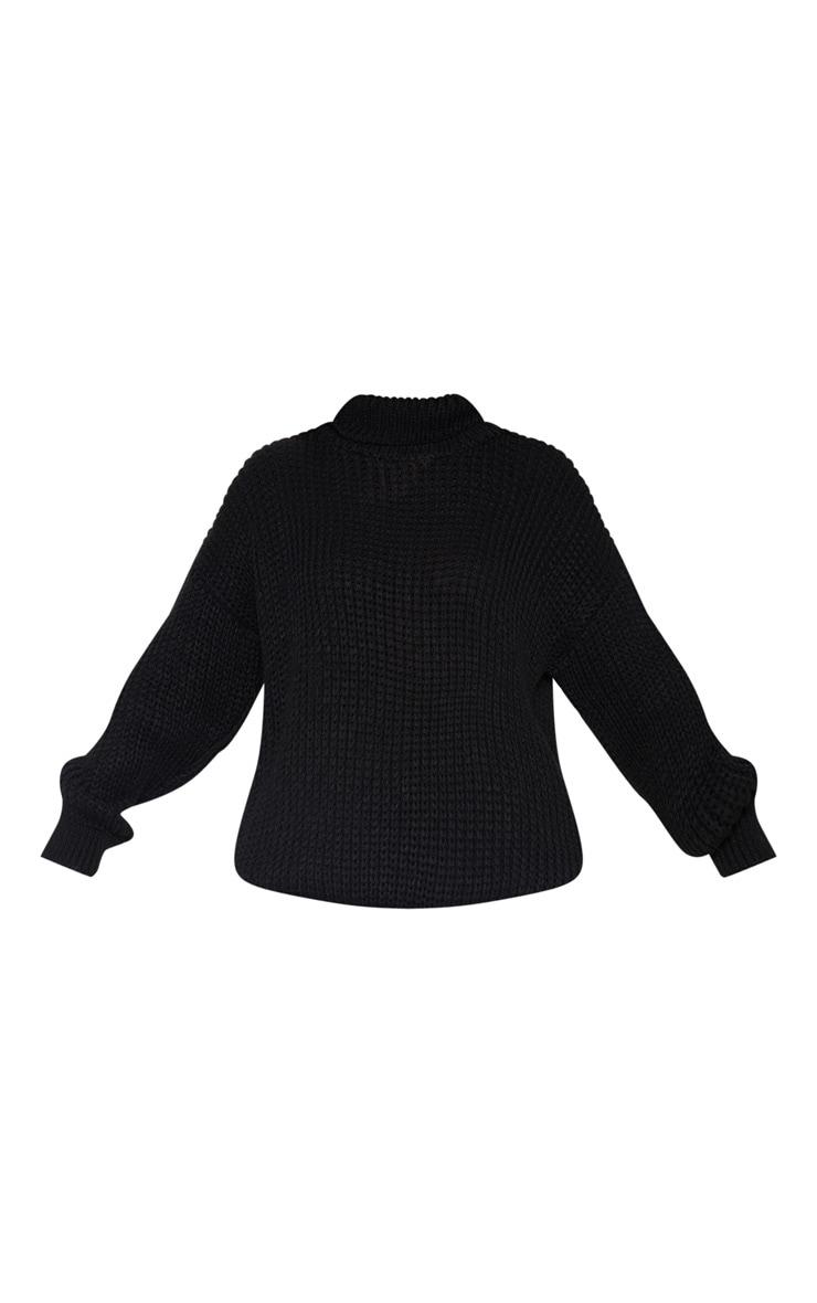 Petite Black Roll Neck Oversized Chunky Knit Sweater 3