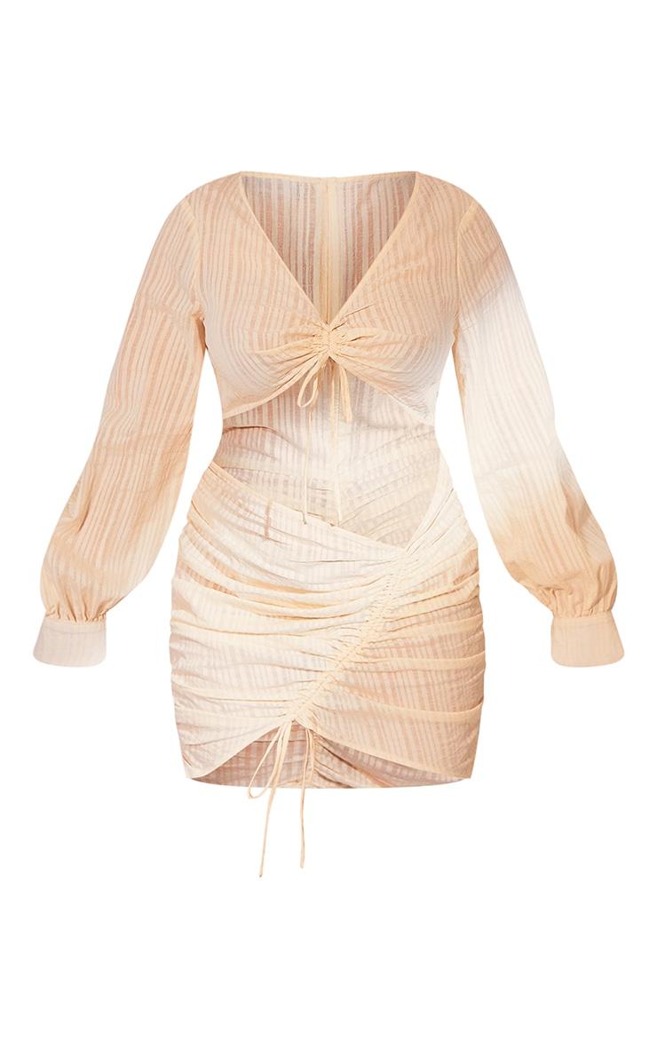 PLT Plus - Robe crème à découpes et rayures détail jupe froncée 5