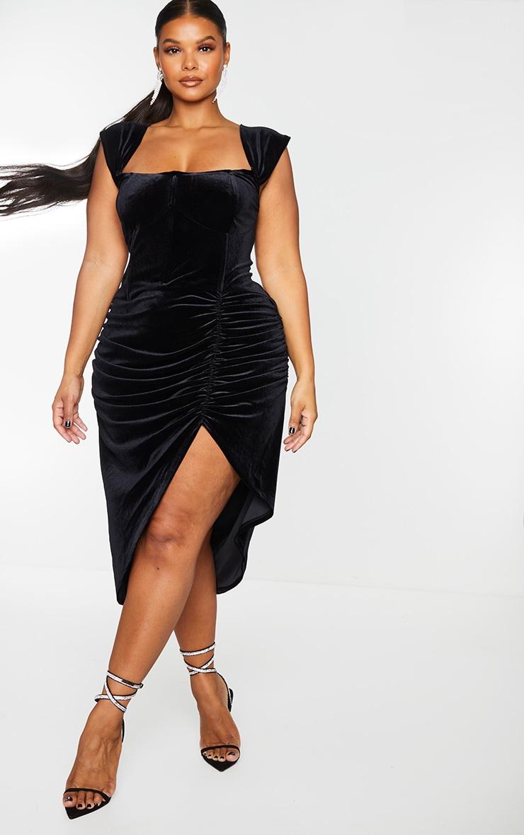Plus Black Velvet Bardot Corset Detail Midi Dress 3