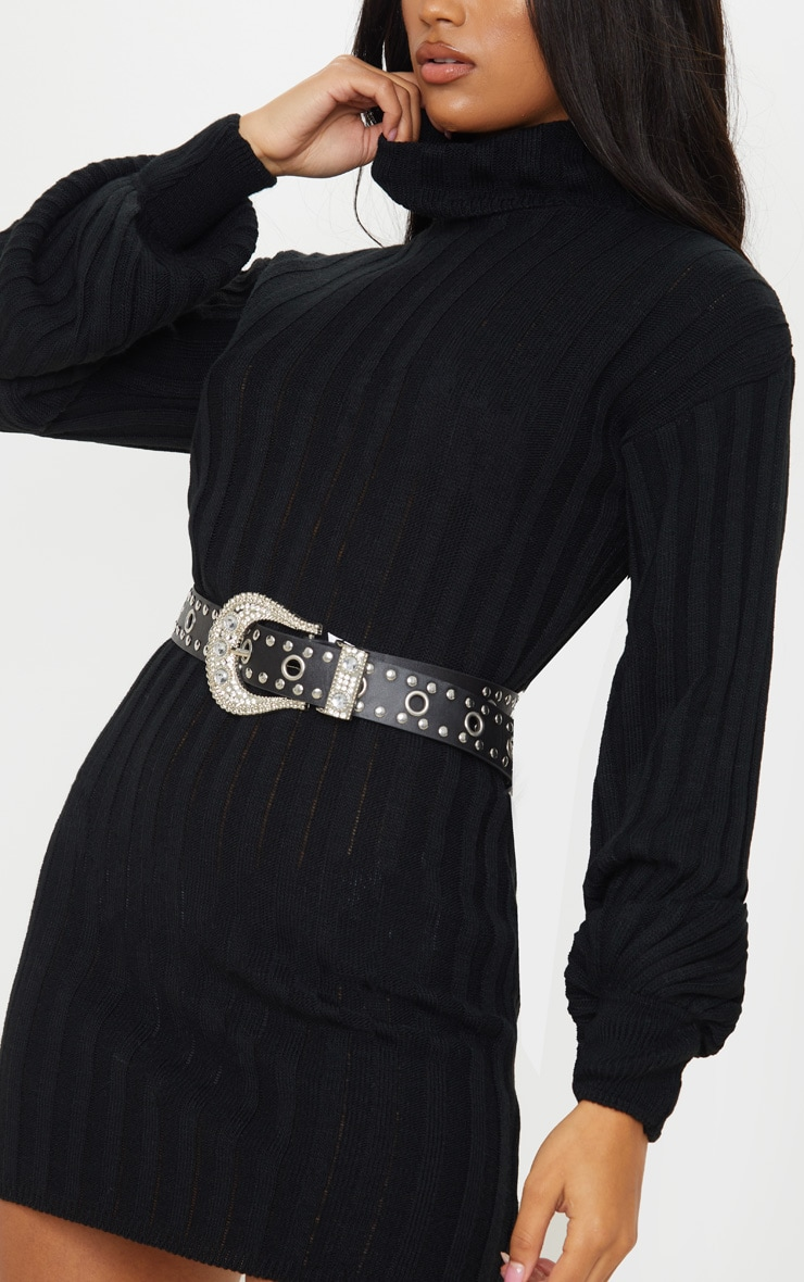 Black Roll Neck Ribbed Knitted Jumper Dress 5