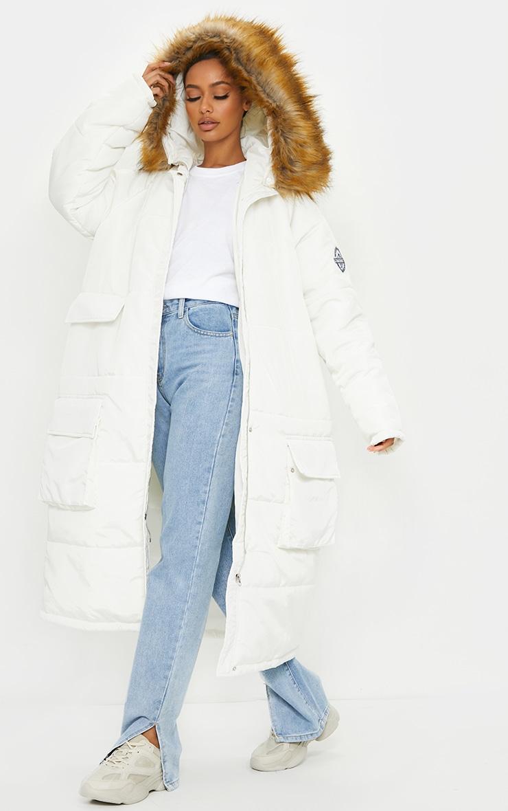 PRETTYLITTLETHING White Maxi Hooded Parka Jacket 3