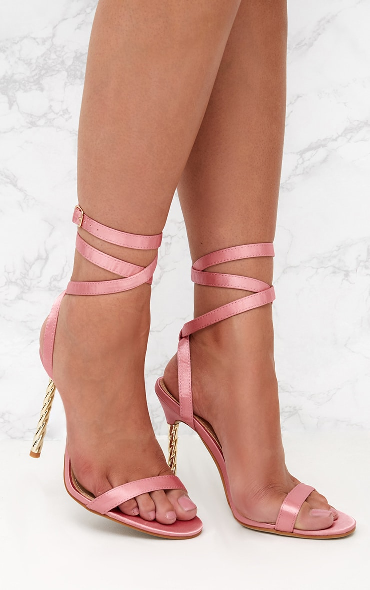 Blush Satin Lace Up Twist Heeled Sandals  1