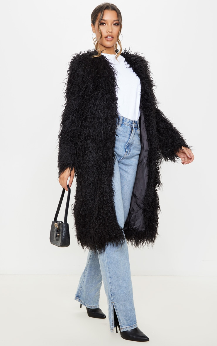 Black Shaggy Longline Faux Fur Coat 4