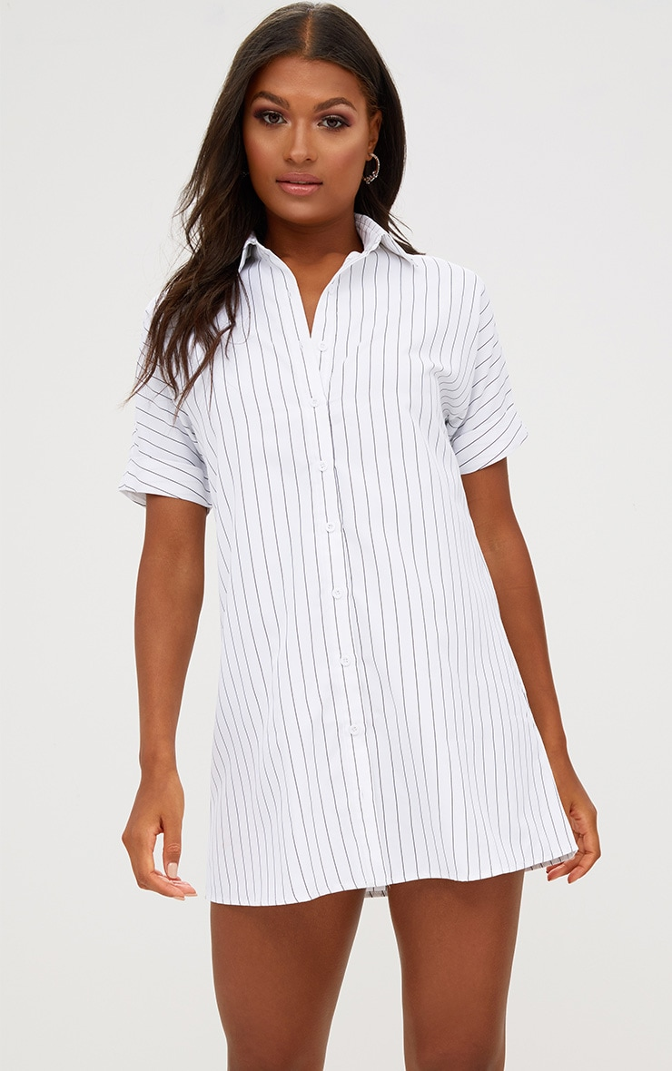 White Striped Short Sleeve Shirt Dress 1