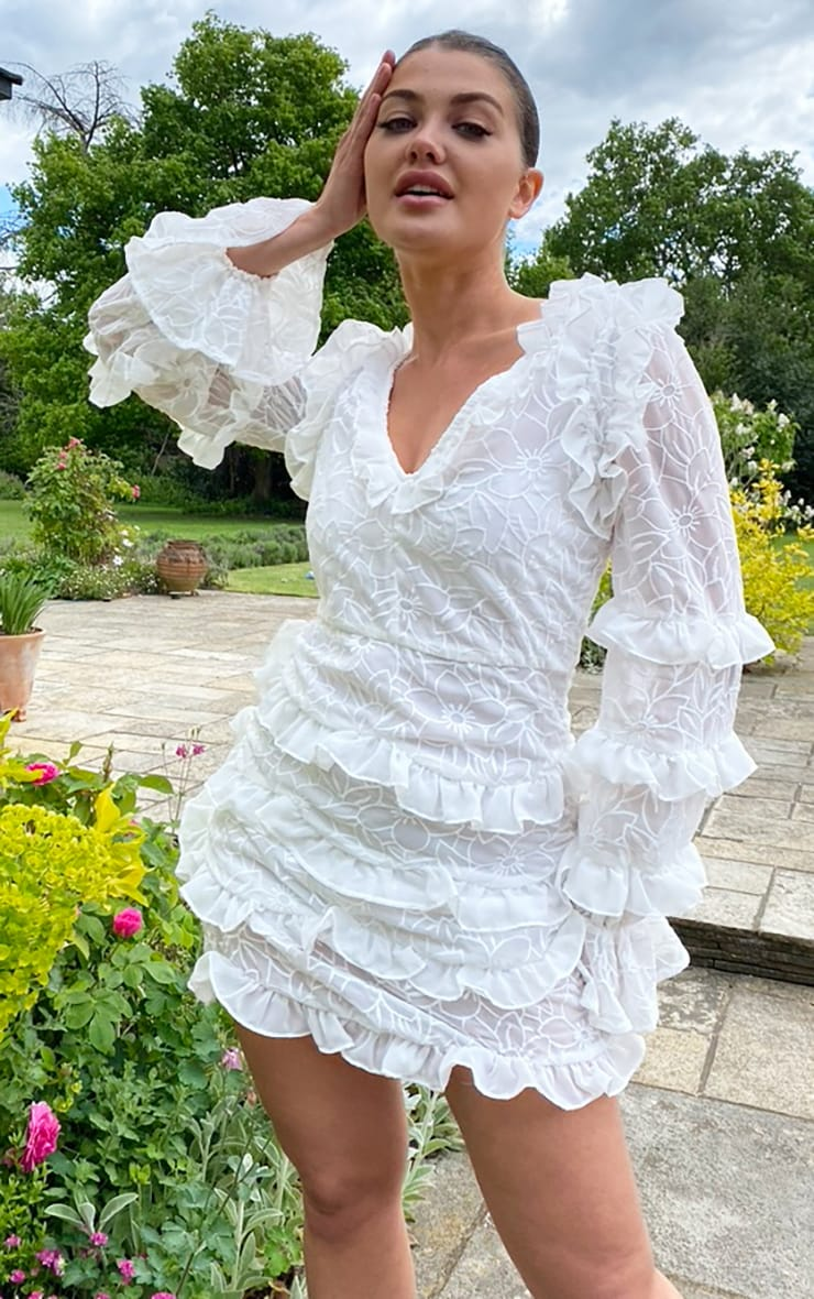 White Embroidered Chiffon Frill Shift Dress 1