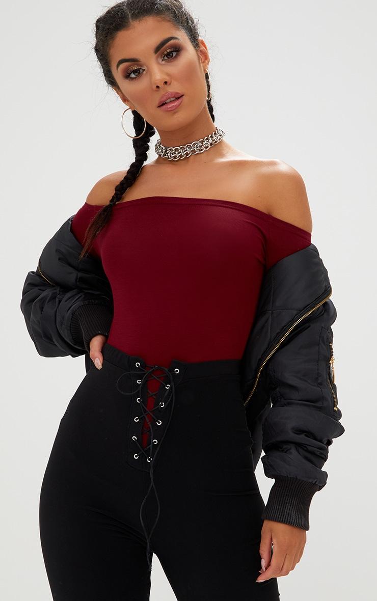 Burgundy Basic Bardot Bodysuit 2