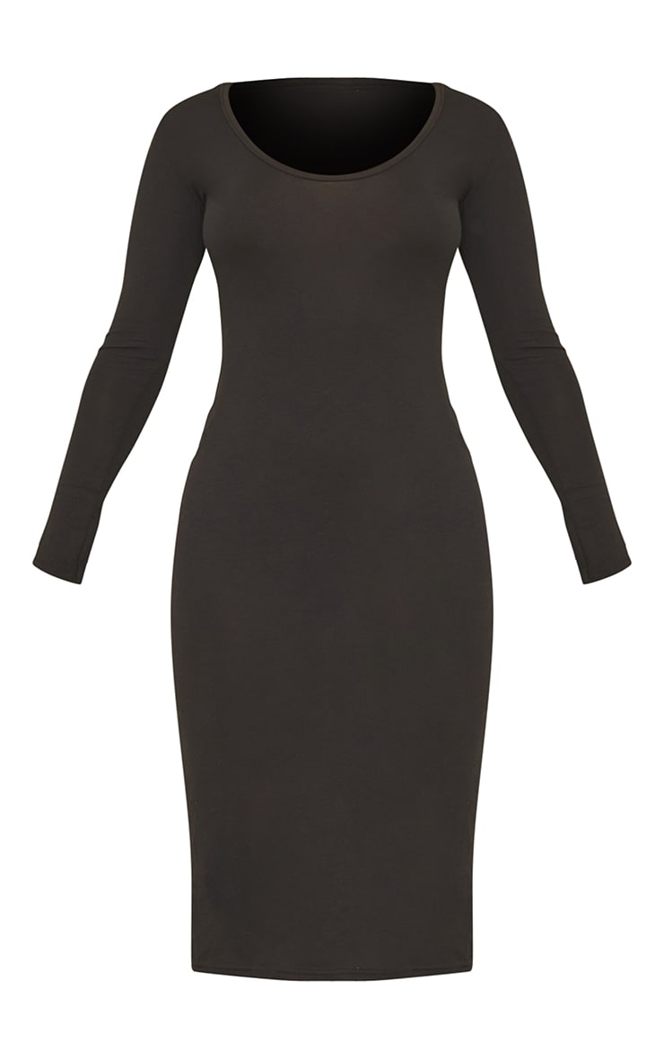 Petite Black Long Sleeve Jersey Midi Dress 5