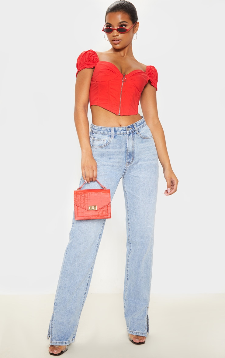 Red Zip Front Puff Sleeve Top 4