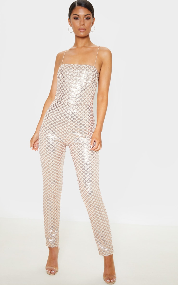 Rose Gold Strappy Sequin Slim Leg Jumpsuit 4