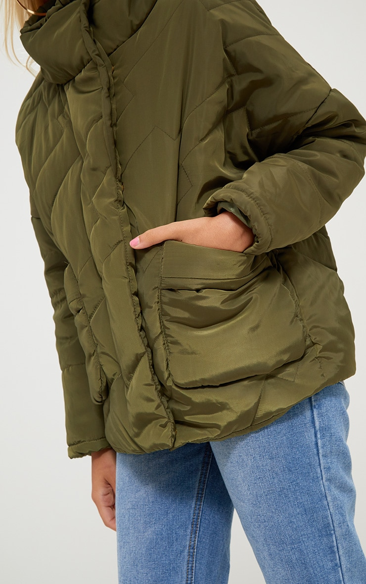 Petite Khaki Cropped Puffer Jacket with Front Pockets 5