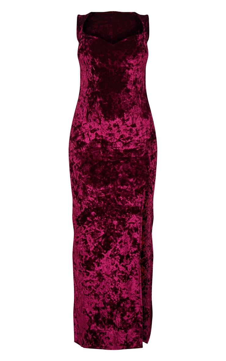 Burgundy Crushed Velvet Sweetheart Neck Maxi Dress 3