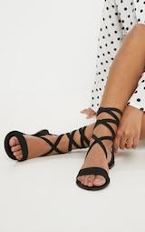 Black Basic Leather Sandal 1