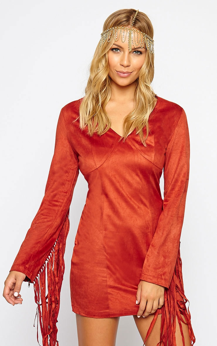 Nexie Rust Faux Suede Fringe Dress 1
