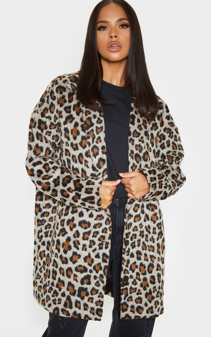 Brown Leopard Midi Coat 1